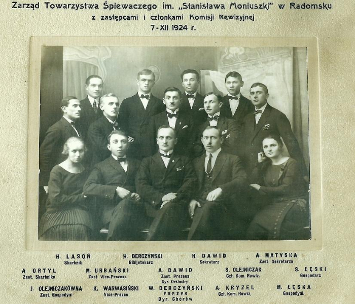 Zarząd Towarzystwa Śpiewaczego im. Stanisława Moniuszki - 7 XII 1924 r. Fotografia z kolekcji J. Kaszyńskiego.