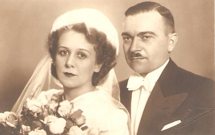 Zdjęcie ślubne Janiny Dawid (1912-2004) córki Ludwika Dawida i Władysławy z Klembowskich i Józefa Sztymeli (zm.1979 r.). Zdjęcie z 1937r. Fotografia z kolekcji J. Kaszyńskiego.